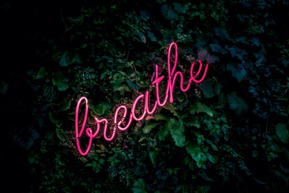 "Neon pink sign in cursive reads ""Breathe"""